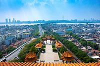 China, Hubei Province, Wuhan, Wuchang, Yellow Crane Tower, Aerial View