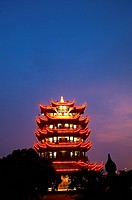 China, Hubei Province, Wuhan, Wuchang, Yellow Crane Tower, Nightlife (thumbnail)