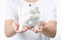 Human hands holding a piggy bank