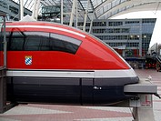DEU, Germany, Munich: Model of the Transrapid high speed train in the lobby of Munich international airport, between terminal 1 and 2