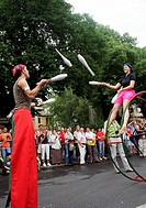 Jugglers at the carnival of the cultures, Kreuzberg, Berlin, Germany
