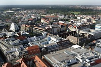 Overview over the City west with the Thomaskirche, Zentralstadion (behind) Leipzig, Saxony, Germany