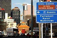 Street and buildings in Wellington, New Zealand