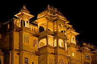 Night view of the CITY PALACE of UDAIPUR which was originally built by Maharaja Udai Singh ll in 1600 AD, India, Rajasthan