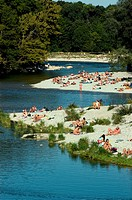 Nude Gay Beach Area at Flaucher at the River Isar, leisure, Munich, Bavaria, Germany, Isar, Isarufer, Badegaeste, baden in der Isar, Isarauen, Flauche...