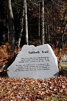 Sabbath Trail located at Seventh-day Adventist Church during the autumn months in Washington, New Hampshire USA
