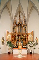Baptismal font of Pope Benedict XVI, St Oswald Church, Marktl, Upper Bavaria, Germany