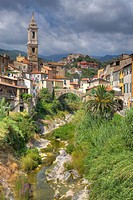 church San Tomaso and bridge Ponte Grande, Italy, Liguria, Riviera dei Fiori