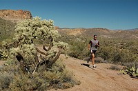 Man jogging, running, in Joshua Tree National Park, California, USA