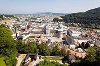 View from mountain Festungsberg over Salzburg with cathedral, dedicated to Saint Rupert and Saint Vergilius, Salzburg, Salzburg, Austria, Since 1996 h...