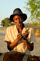 Old man smoking, Sehitwa, Botswana, Africa