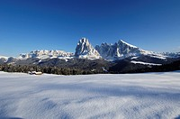 Alpine hut and snow covered mountains under blue sky, Alpe di Siusi, Valle Isarco, South Tyrol, Italy, Europe