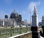 View over castle bridge to Berlin Cathedral, Berlin, Germany