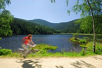 Female cyclist near lake Kleiner Arbersee, Great Arber, Bavarian Forest National Park, Lower Bavaria, Bavaria, Germany