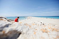 Boy on the beach, les Illetes und Llevant beach, Formentera, Balearic Islands, Spain