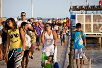 Tourists arriving with the ferry from Ilha de Tavira, Olhao, Algarve, Portugal