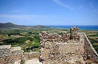 View from the castle at the coast and the ocean, Posada, Sardinia, Italy, Europe