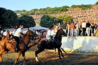 Riders and crowd at the Ardia festival, Sedilo, Sardinia, Italy, Europe