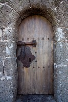 Door, entrance to Castillo de Santa Barbara, castle, 16th century castle near Teguise, UNESCO Biosphere Reserve, Lanzarote, Canary Islands, Spain, Eur...