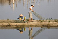 Fishermen with bow nets, Quang Nam Province, Vietnam, Asia