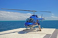 helicopter for sightseeing flights over the Great Barrier Reef on a ponton, Australia, Queensland