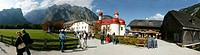 Panoramic view of St. Bartholomae, Lake Koenigsee, Berchtesgadener Land, Bavaria, Germany