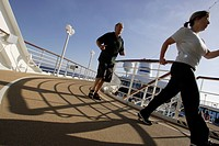 early morning exercise, walking, sun deck, jogging path, cruise ship MS Delphin Renaissance, Cruise Bremerhaven to South England, Atlantic