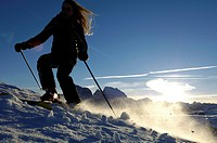 Female skier skiing down a slope, Seiser Alm, Langkofel mountain range, South Tyrol, Italy