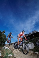 Mountain bikers, Kampen Wall, Chiemgau, Bavaria, Germany