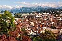 view over the historical city of Lucerne at the Lake Lucerne in Central Switzerland, In the background the mountain range of the Swiss Alps, Switzerla...