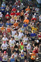 Runners at the marathon in the rhine valley, Rhineland_Palatinate, Germany Europe