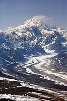 Aerial scenic of Mt. McKinley and the Tokositna Glacier, Denali National Park, Southcentral Alaska Summer