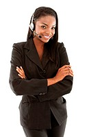 young business woman wearing a headset