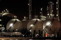 Oil refinery from the petrochemical industry at the Antwerp harbour at night, Belgium