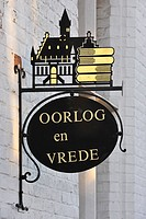 Signboard of bookshop, Damme, Belgium