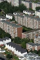 Housing estate, apartment buildings, Cologne, North Rhine-Westphalia, Germany