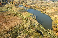 Vierkensbroek, pools, wetlands and forest from the air, Demerbroeken nature reserve, Belgium