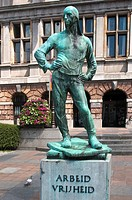 Statue in front of the tourists office near Market Square, Antwerp, Belgium