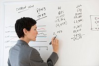 Businesswoman writing on white board