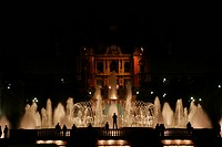 The colourful magic fountain Montjuic in Barcelona, Catalonia, Spain