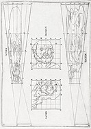 Perspective diagrams, 17th century. These diagrams demonstrate how perspective changes the view of object here, the human head. This concept is known ...
