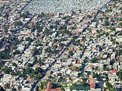 View from above on densely populated area of the capital city, large cemetery at the upper edge of the image, Haiti, Province de l´Ouest, Bourdon, Por...