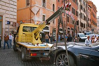 breakdown lorry with car, Italy, Rome