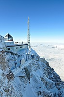 Zugspitze in winter, weather station, panorama view, Germany, Bavaria