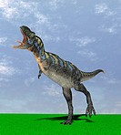 Aucasaurus dinosaur. Computer artwork of an Aucasaurus, a medium sized dinosaur from Argentina that existed during the late Cretaceous, around 100 to ...