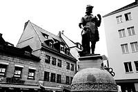 Germany Nurnberg Statue and Old architecture