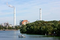 Bewag cogeneration plant beside the river Spree in Berlin, Germany