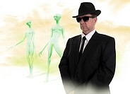 Government UFO inspector and aliens, computer artwork.