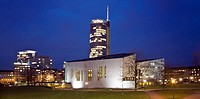 Aalto_Theatre and RWE_Tower, Germany, North Rhine_Westphalia, Ruhr Area, Essen