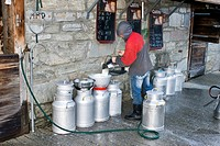 traditional cheese production, filtering of milk, Switzerland, Valais, Taeschalp, Zermatt